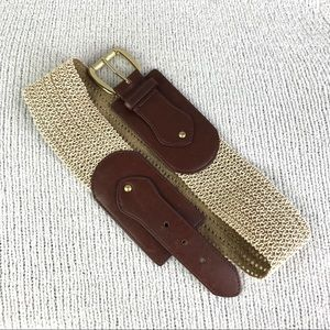 Chico's Leather and Elastic Knit Waist Belt